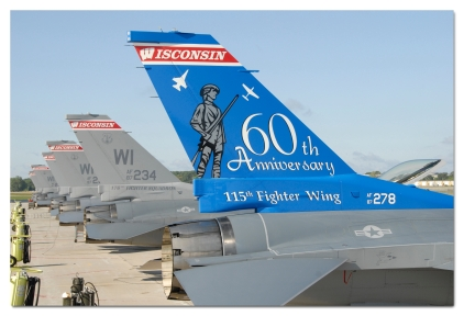 F-16 Aircraft #87-278 displays the distinctive 60th Anniversary tail art of the Wisconsin Air National Guard's 115th Fighter Wing, as it stands on the Truax Field flightline in Madison, WI on September 6th 2008. Originally organized in 1948 as the 176th Fighter Squadron, the unit passed through seven different airframes before converting to the F-16C in March of 1992. (US Air Force photo by MSgt Paul Gorman) (RELEASED)